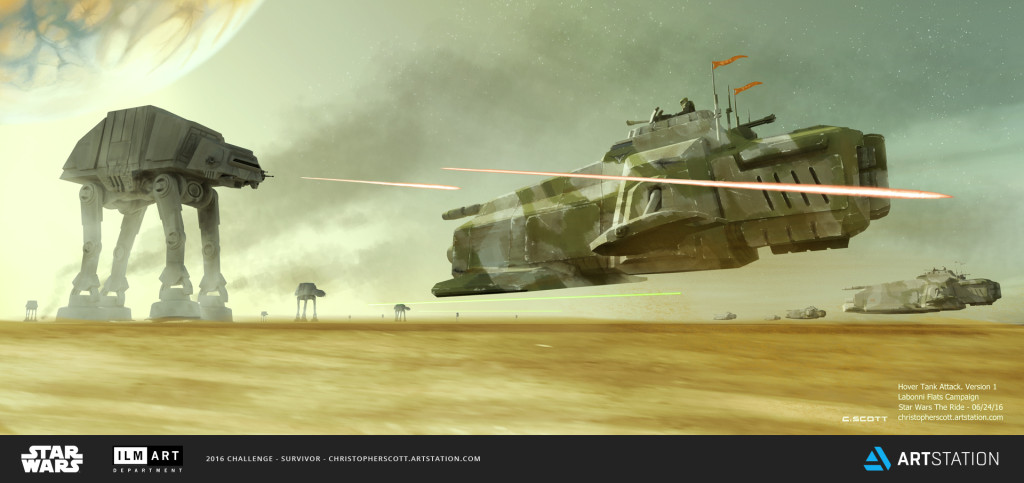 Rebel HT-421 Hover Tanks charge into battle against a dozen AT-AT's in the battle for Labonni Flats.